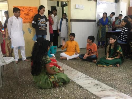 2 Students performing in the Marathi Play event
