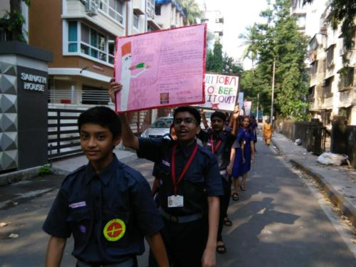 Scouts and Guides undertake an Anti Tobacco Rally