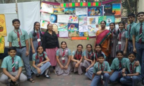 Std. IX students and their art work